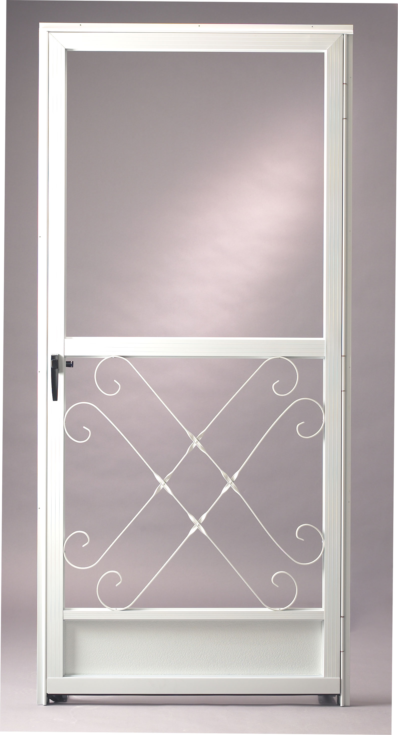 White Elegant Screen Door With Transparent Glass Panel On Top And Crfated  White Metal On Bottom Part 37