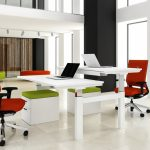 white modern desk design for two person with double layers and green file storage with red swivel chairs in spacious office room