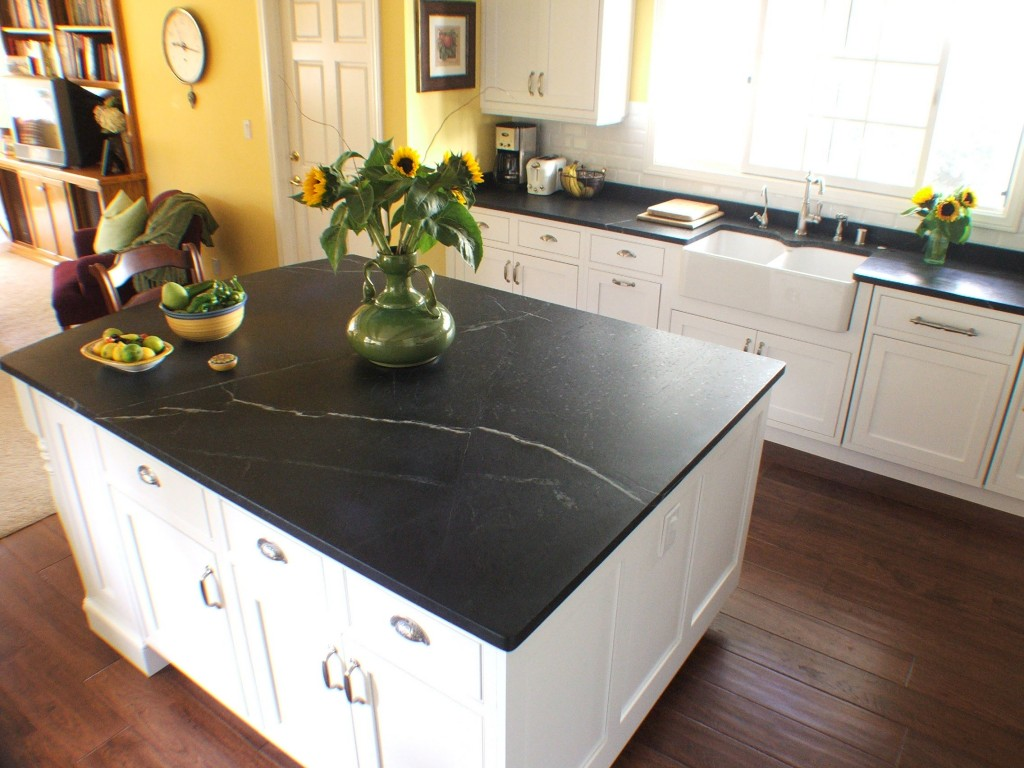 White Soapstone Countertops : Interior with soapstone application mirrors classical
