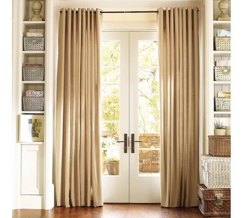 Window Covering For Sliding Glass Door With Alluring Brown Curtain Plus Wooden Shelves And Pretty Basket