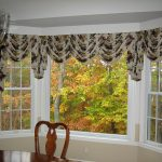 window coverings for bay windows with fancy motif in kitchen decoration with wooden table and chair