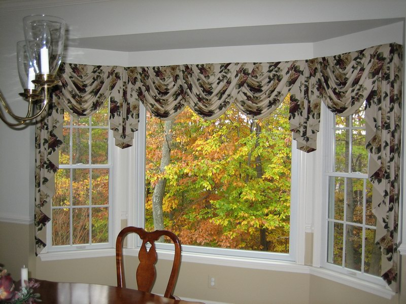 Bon Window Coverings For Bay Windows With Fancy Motif In Kitchen Decoration  With Wooden Table And Chair