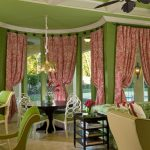 window coverings for bay windows with romantic red curtain plus dining room with round table plus stunning chairs