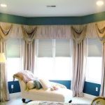 window coverings for bay windows with sheer and drapery plus chaise long sofa and cushion with standing lamp