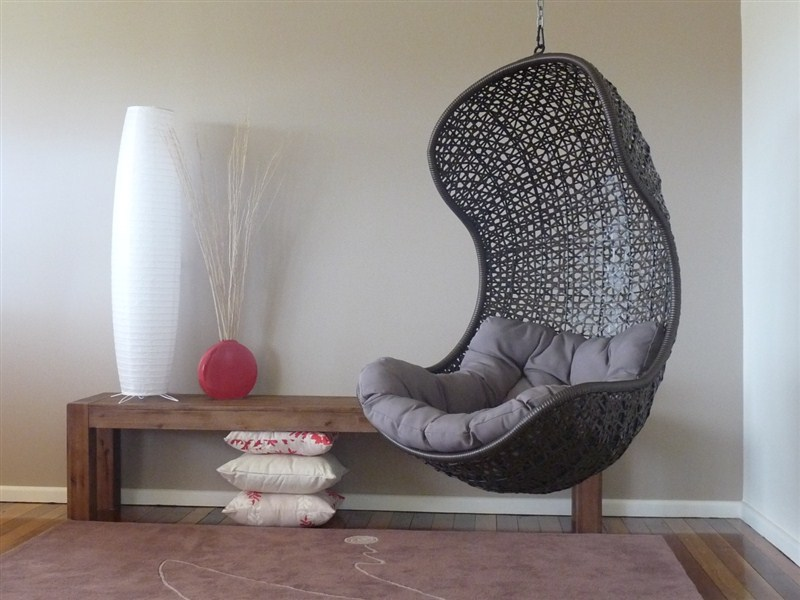 Wonderful Black Net Hanging Chair For Comfy Bedroom Seating With Gray  Tufted And Tender Bolster Upon