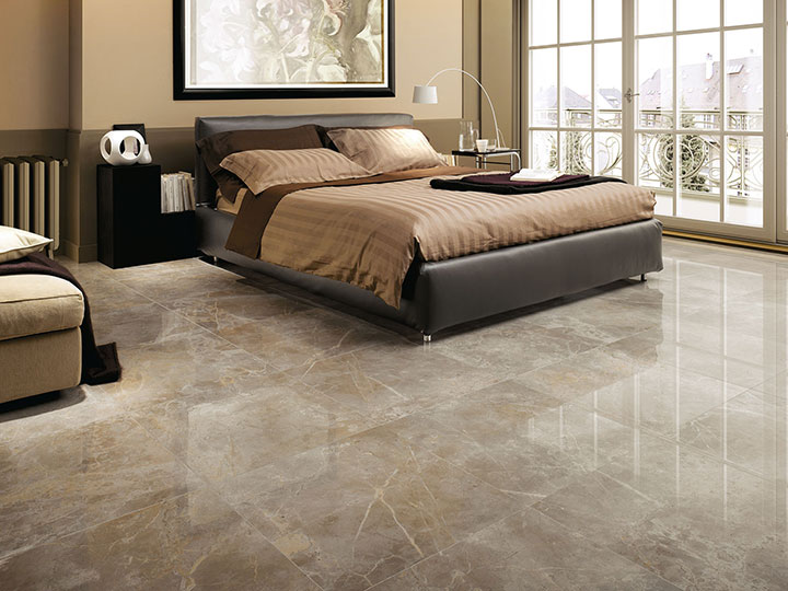 Awesome porcelain marble look for several room design for Bedroom marble flooring designs