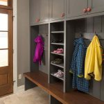 Wonderful Nice Practical Mudroom Design With Grey Wood Made Concept And Has Some Coat Hanged On The Hooks