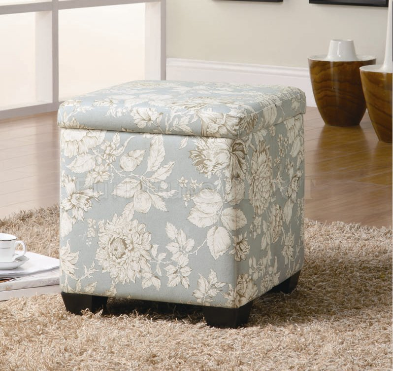 Wonderful Soft Blue Floral Patterned Ottoman Design With Black Legs And File  Storage Upon Furry Rug