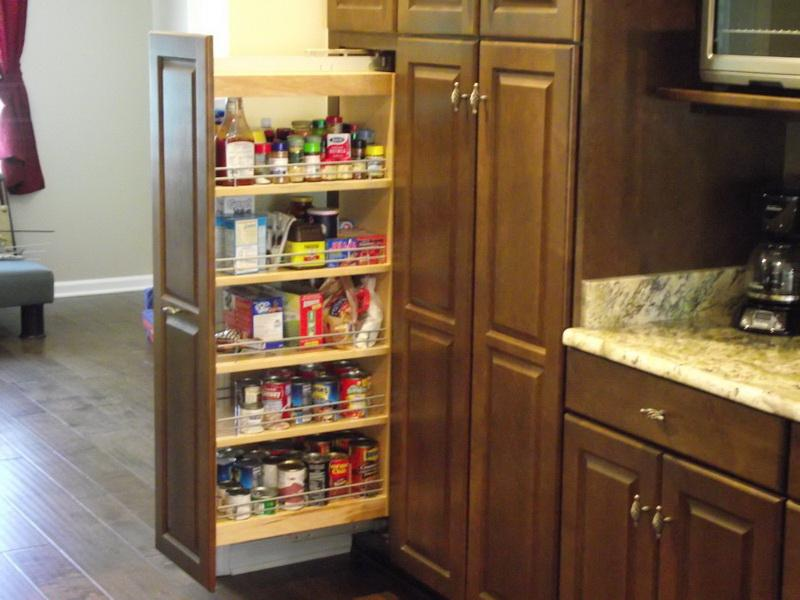 wooden ikea pull out pantry with pull out door for kitchen food ingredient storage aside wooden kitchen cabinets