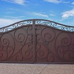 wrought iron main gate for homes with metal panel