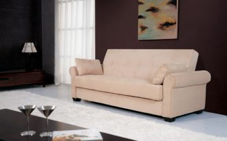 pink comfy sofa on bautiful living room