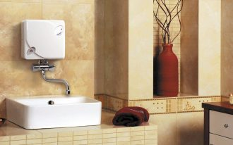 sink water heater on bathroom with beautiful decoration