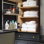 A closet organizer for storing linens or towels and bathing needs