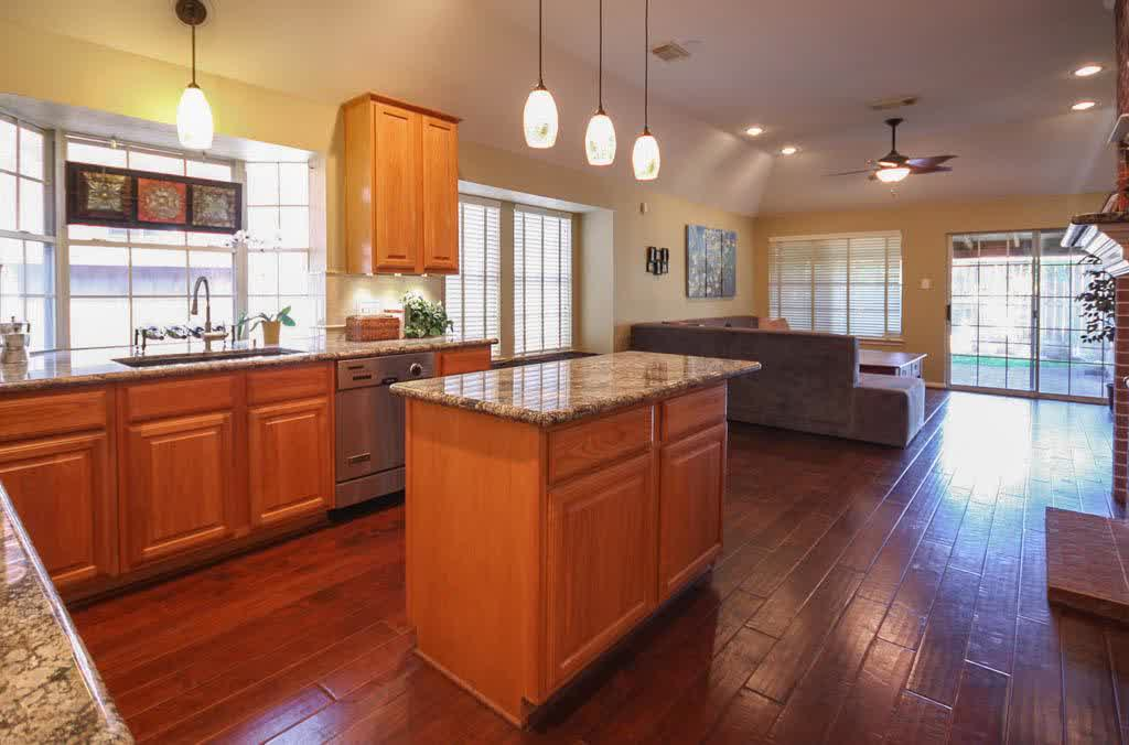 wood kitchen countertops with sink over kitchen sink lighting ideas homesfeed
