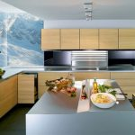 A sketch of modern kitchen idea  wood top and under kitchen cabinets in minimalist style metal surface countertop and kitchen island large frameless glass windows for kitchen