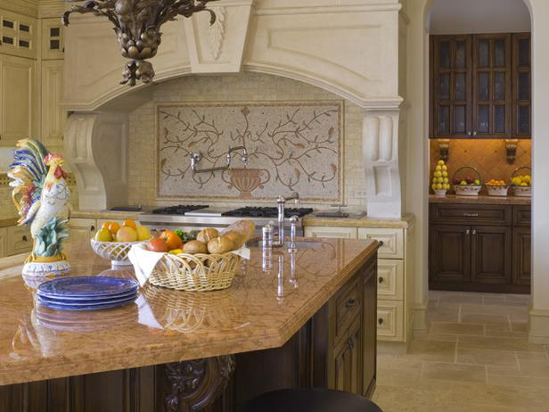 Artistic And Creative Backsplash For Country Style Kitchen A Classic Pendant Chandelier Fixture Luxurious Marble Kitchen