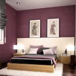 Attractive color schemes for modern bedroom design  two Japanese women painting as wall ornaments larger white headboard  wooden bed furniture with a pair of wooden bedside tables a pair of table lamps