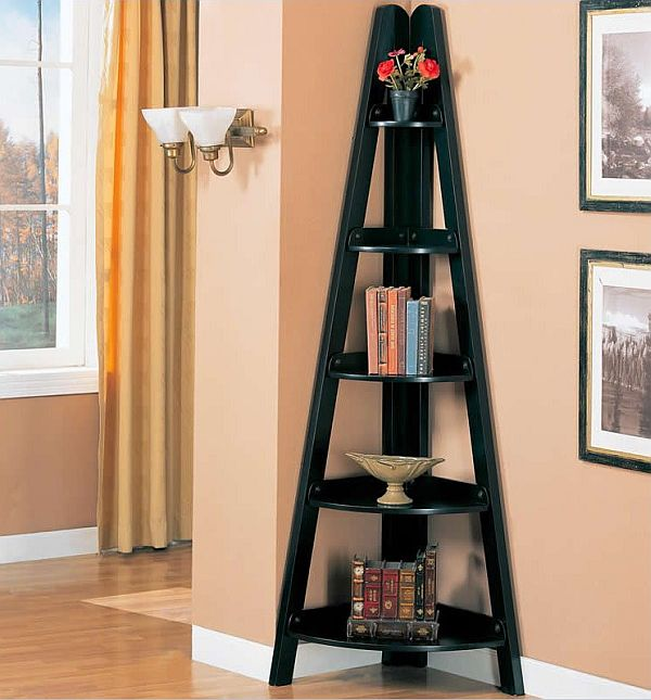 Attractive Corner Bookshelves In Black Color As The Decoration