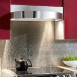 Beautiful and artistic stainless steel backsplash for modern kitchen design high tech electric stove white kitchen countertop
