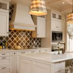 Beautiful backsplash idea for white country kitchen design  a white kitchen island with barstool a pair of pendant lamps over the kitchen island