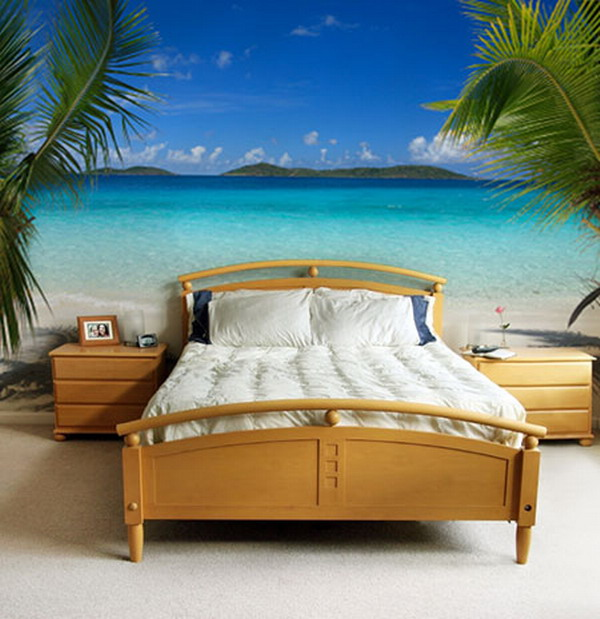 Beautiful Beach Bedroom Idea With Simple Wooden Bed Furniture White Bedding  And White Pillows Wooden Bedside
