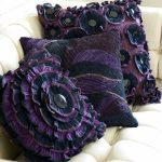 Beautiful purple throw pillows' covers with creative and attractive flower motifs