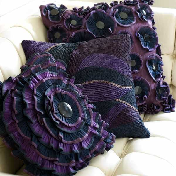 Beautiful Purple Throw Pillowsu0027 Covers With Creative And Attractive Flower  Motifs