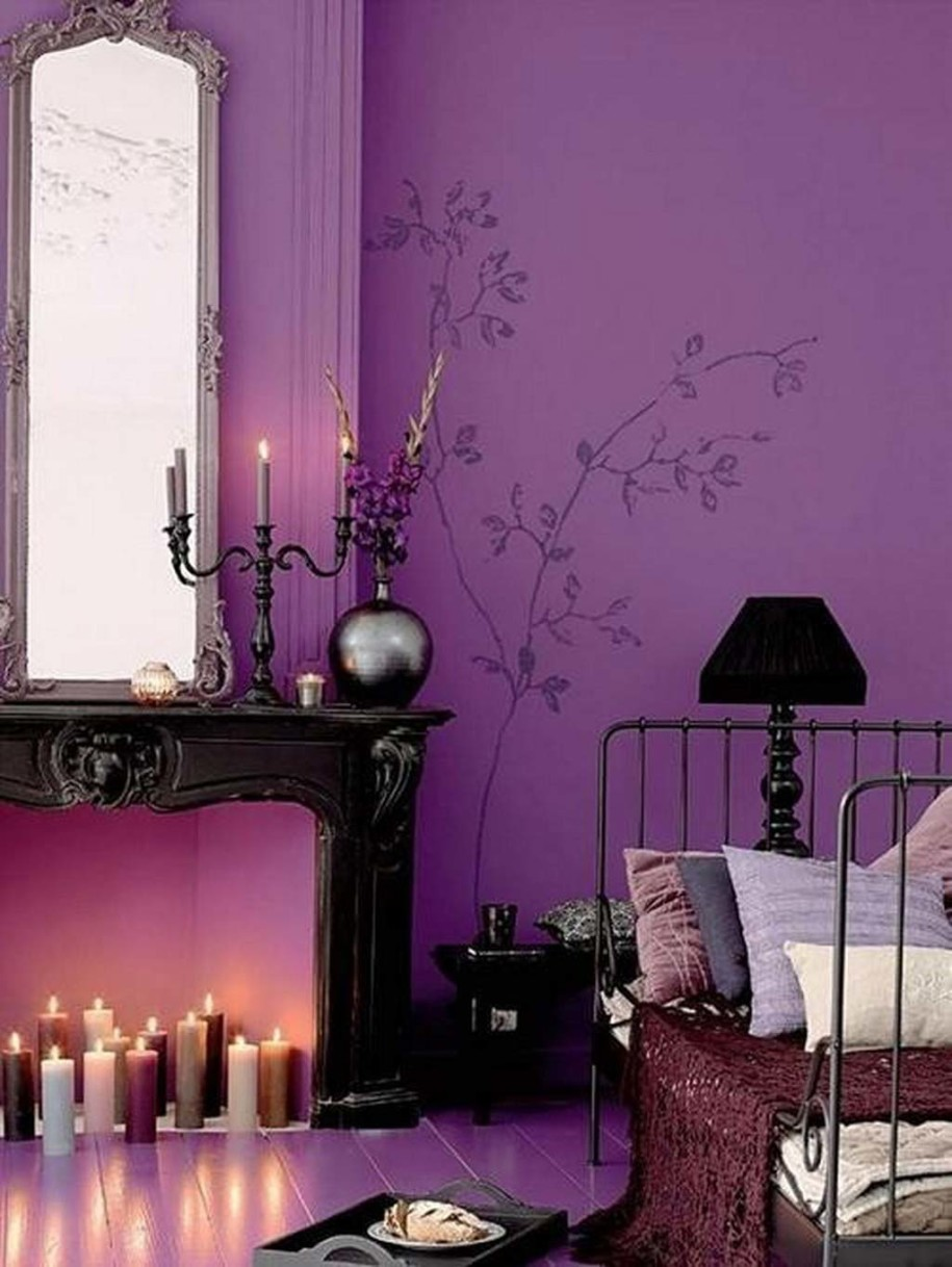 Beau Beautiful Purple Wall For Bedroom Classic Table In Black With Classic Frame  Mirror Black Metal Bed