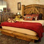 Beautiful Rustic Bedroom Idea With Rustic Platform Bed Plus Rustic Headboard Rustic Credenza A Pair Of Rustic Bedside Tables Darker Brown Bedroom Rug With Floral Pattern