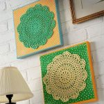 Beautiful wall arts in yellow and green color white bricks wall system a tabke lamp