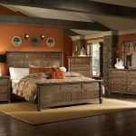 Bedroom Design In Rustic Style With Rustic Bed Furniture Drawer System As The Bedside Table A Vanity With Drawer System And Mirror Brown Bedroom Rug