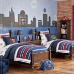Bedroom design with superhero theme two units bed furniture wood floor vertical closet for miniatures of hero and books
