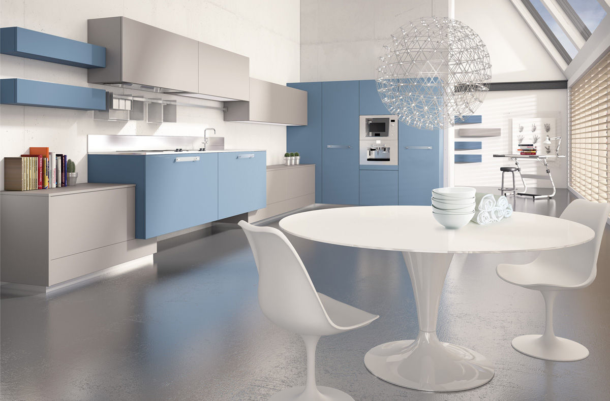 Blue Minimalist Kitchen Plan In 3d Version E With A Set Of White Dining Furniture Cool