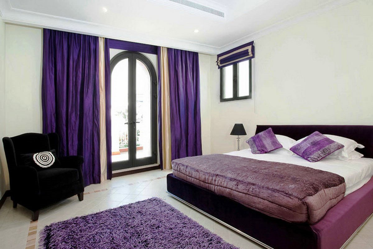 Purple Bedroom Ideas. Perfect Bold Purple Curtains For Glass Door Queen Sized Bed Furniture With  White Bedding And Bedroom Home Design Ideas and Pictures