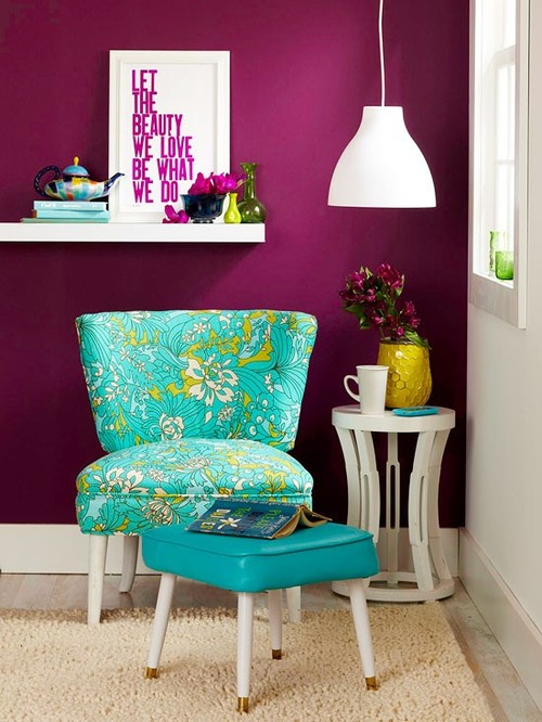Bold Purple Wall Color White Pendant Lamp Turquoise Reading Chair With Flower Motifs Table Unique