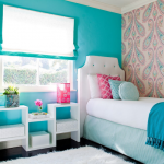 Bright turquoise wall tone color for small bedroom single bed furniture with white free standing headboard various sizes and colors of throw pillows white minimalist side rack white rug nice wallpaper