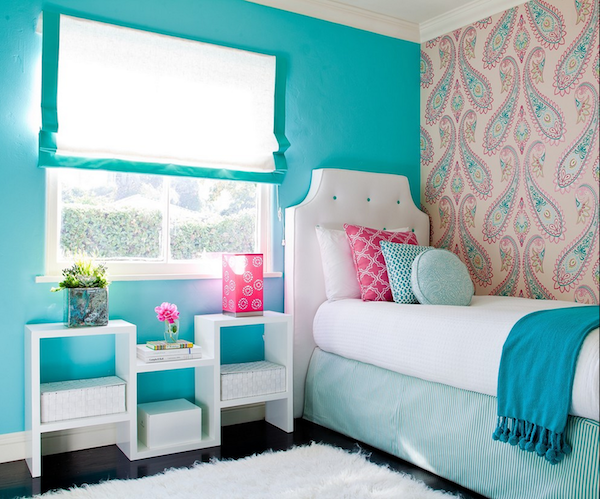 Delightful Bright Turquoise Wall Tone Color For Small Bedroom Single Bed Furniture  With White Free Standing Headboard