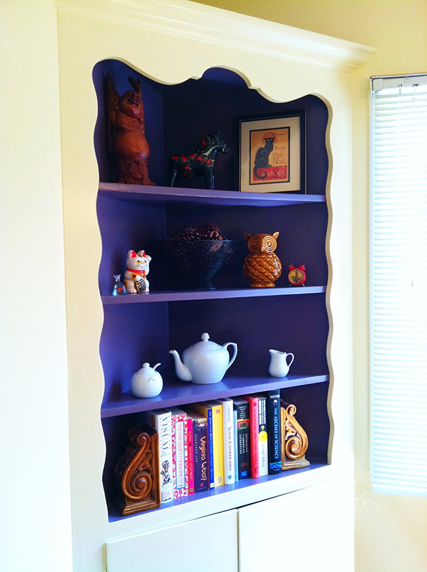 Home Corner Decoration Ideas Part - 40: Built In Corner Shelves For Organizing Books And Decorative Features