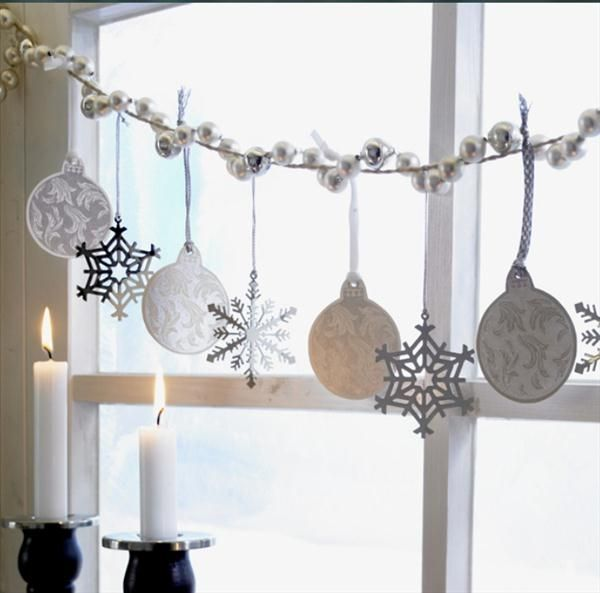 christmas ornaments for window consisting of a pair of single chandeliers - Christmas Window Decorations