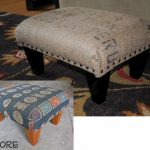 Coffee sack Ottoman with black painted legs
