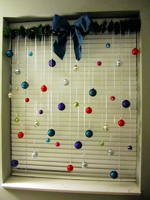 Colorful Christmas Balls That Are Hung On Window. Decorative ...