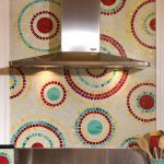 Colorful kitchen backsplash gas stove