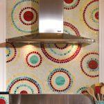 Colorful kitchen backsplash gas stove