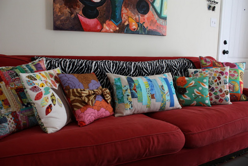 Beau Colorful Throw Pillows In Various Sizes And Red Sofa