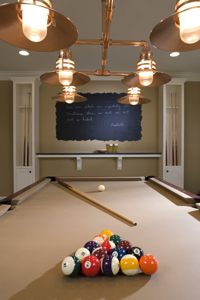 combined basement lighting idea for basement game room with a billiard