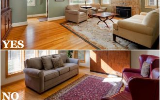 Correct and false of setting the rug for living room