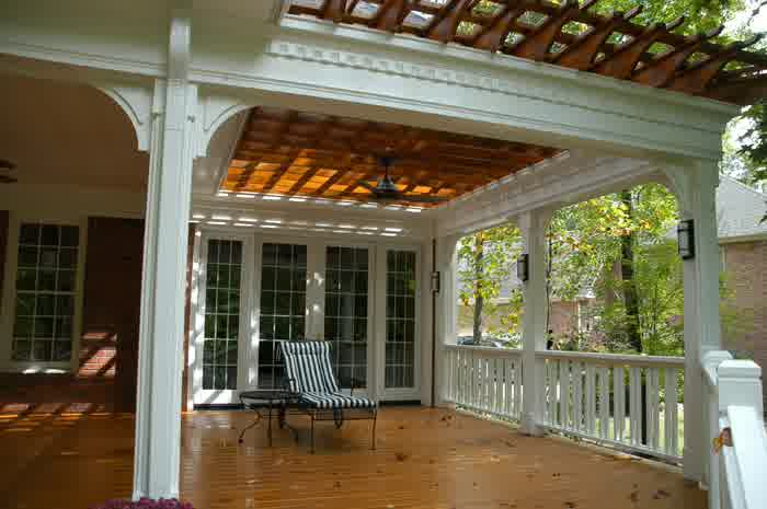 Covered deck designs homesfeed for Covered porch flooring options