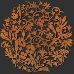 Crafted wooden wall art with floral theme