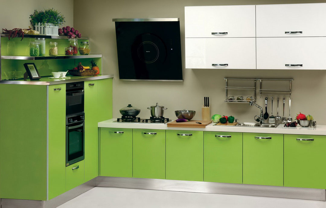 Cute Decoration Idea For Small Kitchen In Green Theme Green Colored Cabinets  Underneath White Kitchen Cabinets