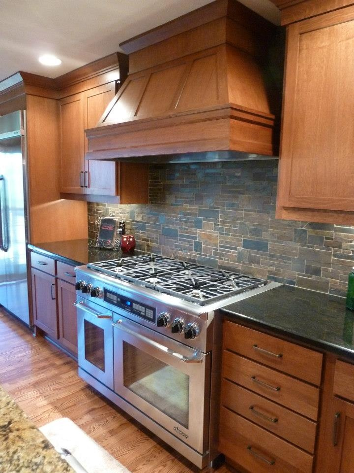 Counter Gas Stove Darker Staining Wood Kitchen Cabinets Wooden Floors